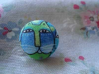 Material Cat Button - Blues / Greens (1)