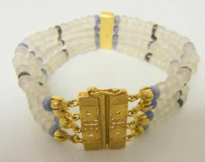 Atq Egyptian Revival Tribal Beauti Ancient Satin Glass Beads Gold Tone Bracelet