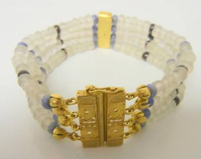 Beautiful Ancient  Roman  Gold metal & Glass Beads Bracelet