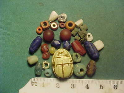 30+ ancient beads circa 1000 BC-400 AD + Egyptian  scarab  amulet