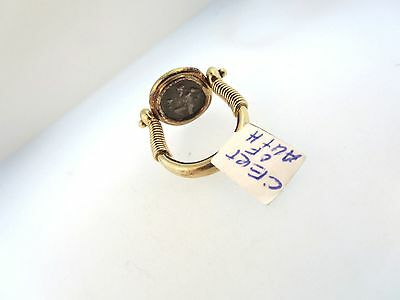 14k Y/GOLD 411-350 B.C. SILVER SATYR COIN OF THASOS REVERSIBLE RING w/COA