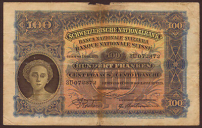 Schweiz / Switzerland 100 Franken 1.1.1923 Pick 28 (5)