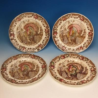 Johnson Bros - 4 Colorful His Majesty Turkey Plates - 10½ inches