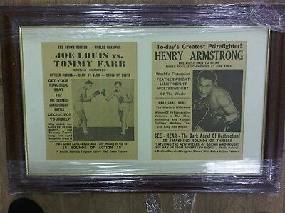 Joe Louis vTommy Farr & Henry Armstrong Enmarcado Clipings