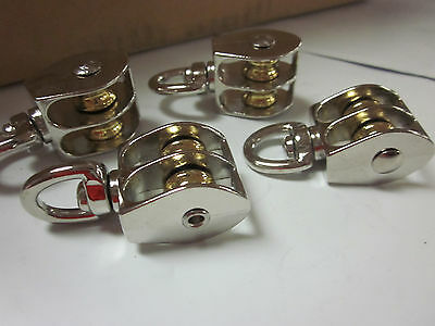 "~ 4pc ~ 1/2"" DOUBLE WHEEL BRASS SHEAVE DIE-CAST CHROME PULLEY ROPE WIRE HOIST"