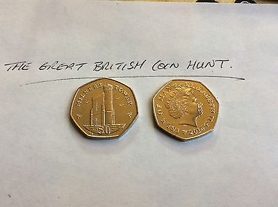 Uncirculated Isle Of Man IOM 50p 2014 Milners Tower Reverse Mint Condition