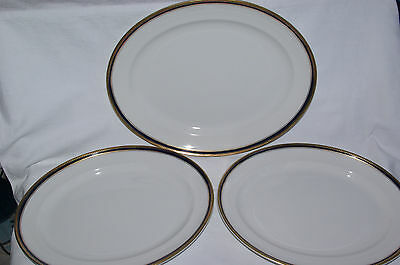 Set of 3 Losol Ware Large Oval Serving Plates Platters Cobalt Blue & Gilt Trim