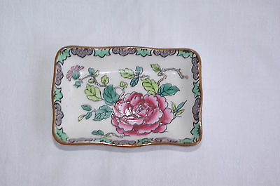 Vintage Crown Staffordshire Handpainted Butter Pat Pin Tray Rock Bird