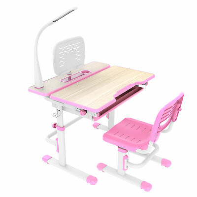 Deluxe Height Adjustable Children's Desk & Chair Kids Interactive Station Pink