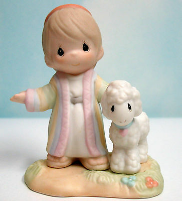 PRECIOUS MOMENTS Joseph's Special Coat ~ # 488305 ~ w/ Lamb from My Bible Series