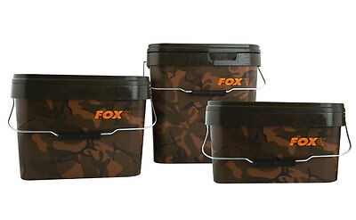 FOX NEW Carp Fishing Square Camo Bait Bucket 10L / 10 Litre X 2 - CBT006