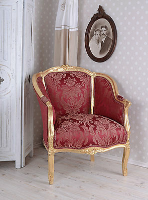 Baroque Chair Royal Rot French Wing Chair Armchair Antique