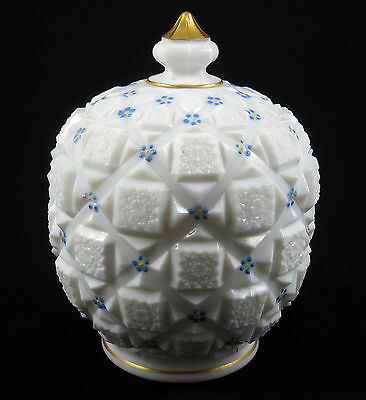 Westmoreland Old Quilt Milk Glass Covered Candy Jar Dish Hand Painted Gold