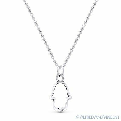 Hamsa Hand Evil Eye Charm Open Pendant & Chain Necklace in .925 Sterling Silver