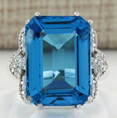 20.40Ctw Natural Blue Topaz And Diamond Ring In 14K White Gold