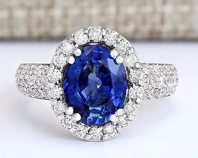 4.75 CTW Natural Blue Sapphire And Diamond Ring In 14k White Gold
