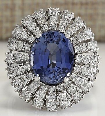 6.76Ctw Natural Blue Ceylon Sapphire Diamond Ring 14K Solid White Gold