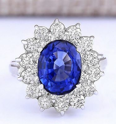 5.55 CTW Natural Blue Sapphire And Diamond Ring In 14k White Gold