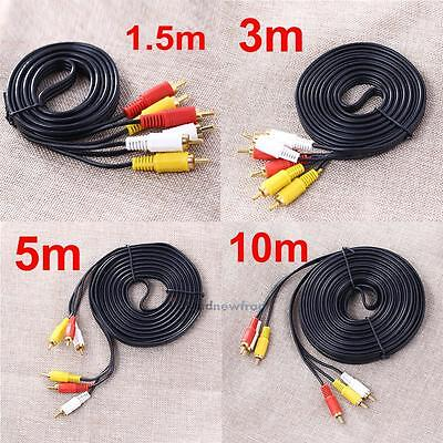 1.5M/3M/5M/10M 3 RCA Male to Male Composite AV Audio Video Cable DVD TV Lead