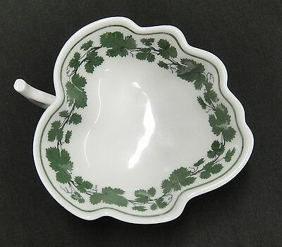 "Meissen Full Green Vine Leaf Shape Salt Cellar 4"" Dish with Handle Excellent"