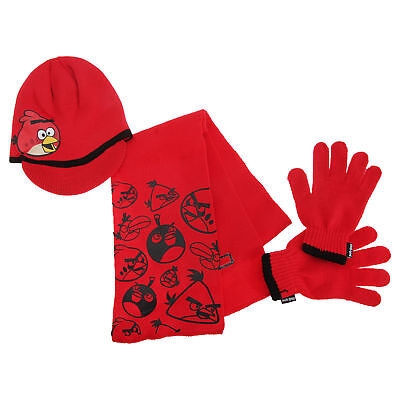 Angry Birds Childrens Boys Knitted Winter Hat, Gloves And Scarf Set