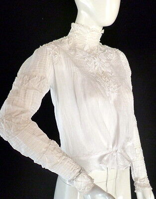 Exquisite 1800s Antique FRENCH Victorian Edwardian BLOUSE Lace Whitework LARGE