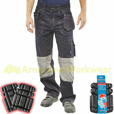 56bf399f67 Mens Stretch Work Trouser with Cordura Knee Pad Pockets Workwear FREE KNEE  PADS