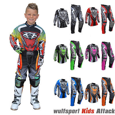 Wulfsport Attack Kids Cub Motocross Set Race Motorbike Jersey Trousers Suit