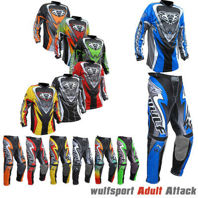 Wulfsport 2017 Attack Adult Race Motocross Set Motorbike Jersey Trousers Suit