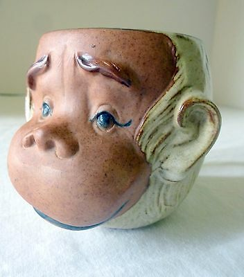 Gempo Uctci Brown Stoneware Monkey Face Cup/Mug