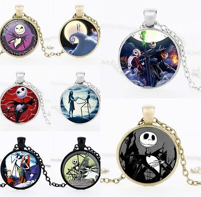 Vintage Cabochon The Nightmare Before Christmas Pendant Necklace Christmas Gift