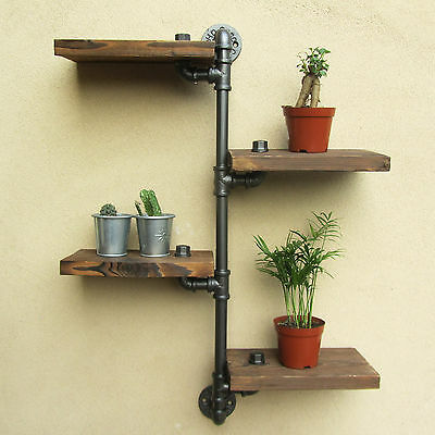 Industrial Rustic Style Urban Wall Mount Iron Pipe 4 Tiers Shelving Wooden Shelf