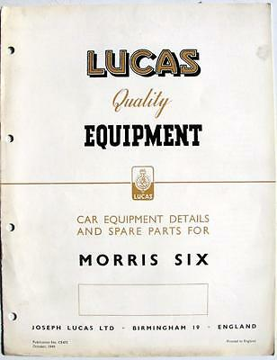 Lucas MORRIS 6 Electrics Cars Equipment & Spare Parts Oct 1949 #CE475