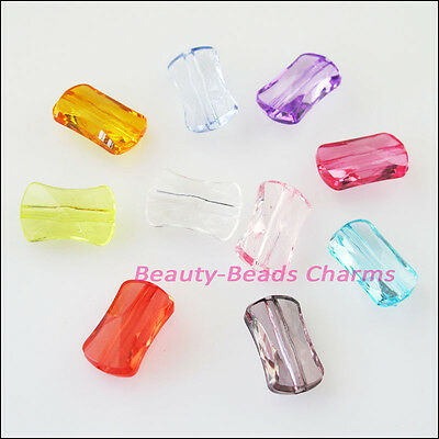 30 New Charms Plastic Acrylic Faceted Rectangle Spacer Beads Mixed 9x14.5mm