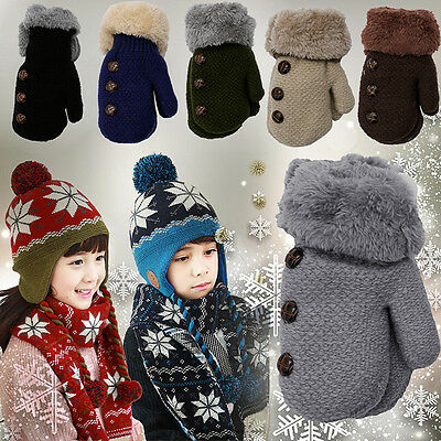 Toddlers Baby Kids Girls Boys Winter Warm Knitted Mittens Gloves 0-12 Months