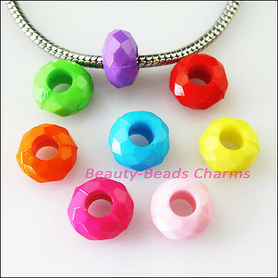 30 New Charm Plastic Acrylic Round Spacer Beads Mixed fit European Bracelet 12mm