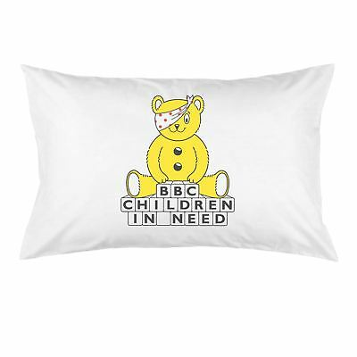 White Cotton Pudsey Bear BBC Children in Need Building Blocks Pillow Case