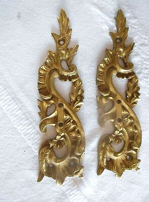 Pair of Antique french Bronze FINIALS MOUNTS PLAQUES LOUIS XV Style