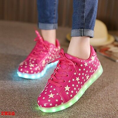 New Children Breathable LED Light Up Luminous Sneakers Sportswear Casual Shoes S