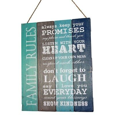 """50cm """"Family Rules"""" Quotes on Wooden Panel Hanging Sign, Beach House"""