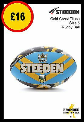 Steeden Gold Coast Titans NRL Team Supporter Rugby Ball Size 5 NEW