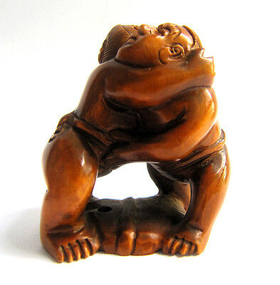 "Y4212 --- 2"" Hand Carved Boxwood Netsuke Figurine Carving - Two Wrestlers"