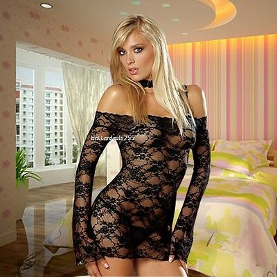 Sexy Hot Babydoll Sheer Mini Off Shoulder Dress+G-String Underwear Lace Lingerie