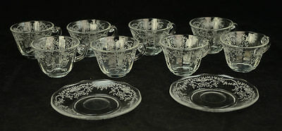 Fostoria Corsage Clear Etched Glass Set 8 Tea Cups 2 Saucers Flowers Ribbons L6Y