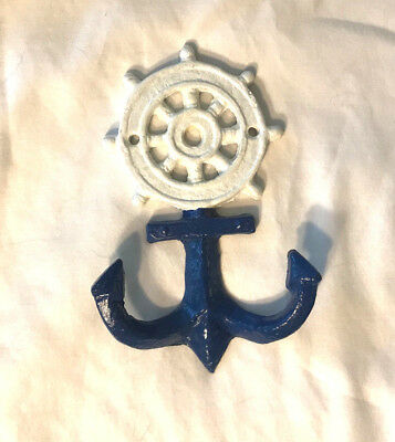 Hand Painted Cast Iron Anchor Ship Wheel Helm Wall Hook Towel Nautical Decor
