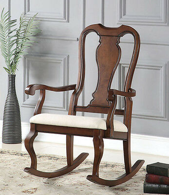 New Beretta Cherry Finish Wood Accent Beige Microfiber Seat Rocking Chair