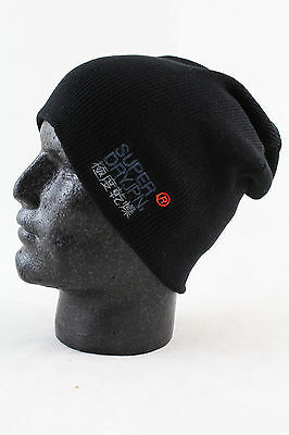Superdry Mens Windhiker Embroidery Beanie Hat Black One Size