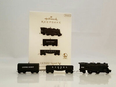 Hallmark Miniature Ornament 2010 Lionel Scout Set - 3 Lionel Trains #QXM9036-SDB