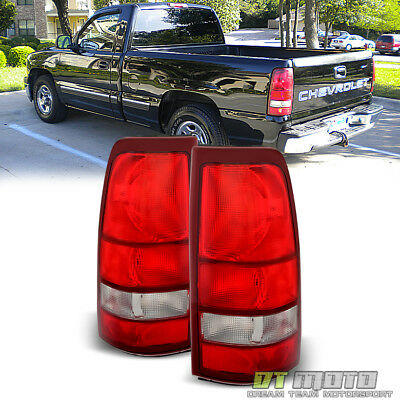 1999-2002 Silverado 99-06 Sierra Red Clear OE Tail Lights Lamps Pair Left+Right