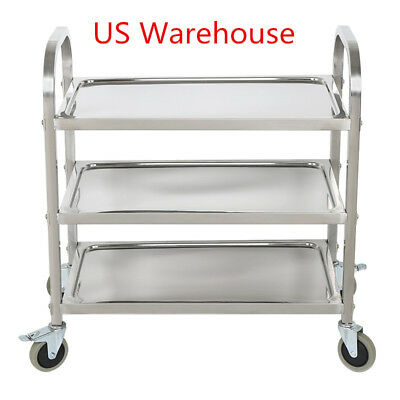3 Tier Kitchen Restaurant Utility Cart Rolling Serving Shelf  Stainless Steel US
